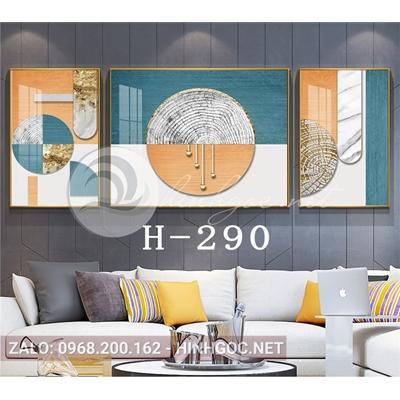 Bộ 3 tranh nghệ thuật hình line art trừu tượng-H-290