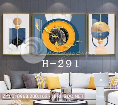 Bộ 3 tranh cửu ngư quần hội và hình line art-H-291