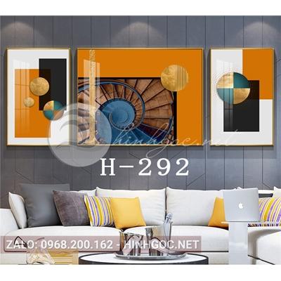 Bộ 3 tranh nghệ thuật hình line art trừu tượng-H-292