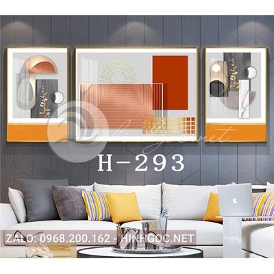 Bộ 3 tranh nghệ thuật hình line art và hoa lá-H-293
