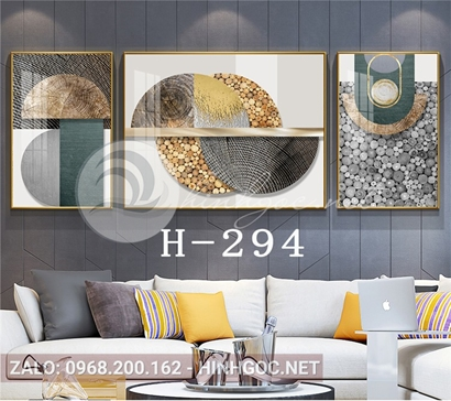Bộ 3 tranh nghệ thuật hình line art và đá cuội-H-294