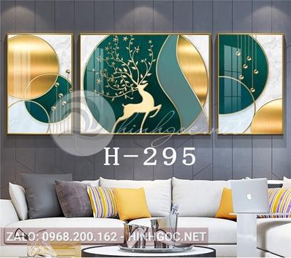 Bộ 3 tranh con hươu sừng hoa và hình line nghệ thuật-H-295