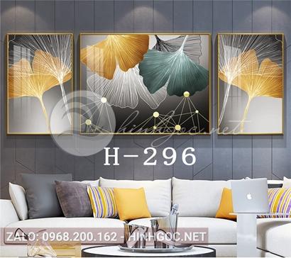 Bộ 3 tranh lá sắc màu và hình line nghệ thuật-H-296