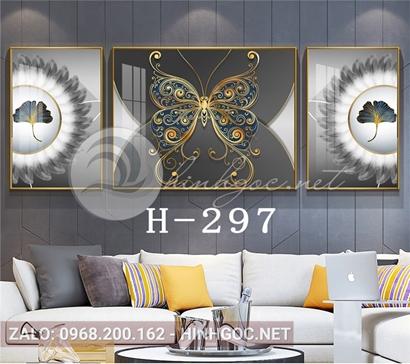Bộ 3 tranh lá sắc màu và hình hoa văn họa tiết-H-297