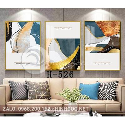 Tranh bộ 3 bức, tranh trừu tượng và hình line art-H-526