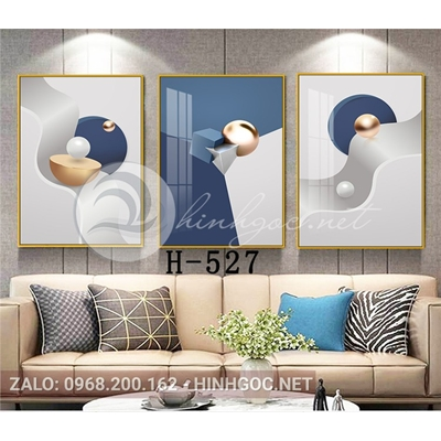 Tranh bộ 3 bức, tranh trừu tượng ngọc tròn và hình line art-H-527