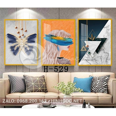 Tranh bộ 3 bức, tranh trừu tượng cô gái và hình line art-H-529