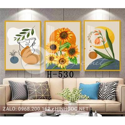 Tranh bộ 3 bức,cô gái hình line art và hoa hướng dương-H-530