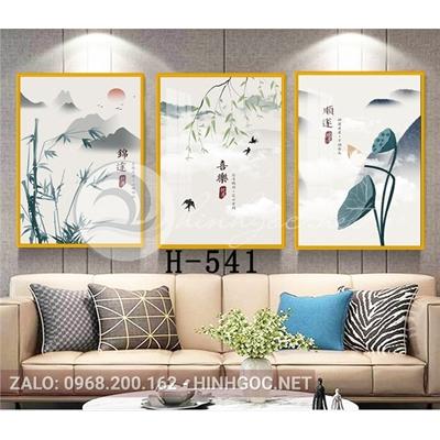 Tranh bộ 3 bức, tranh phong cảnh hoa sen và tre-H-541