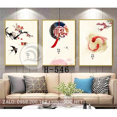 Tranh bộ 3 bức, tranh cá vàng và chữ-H-546