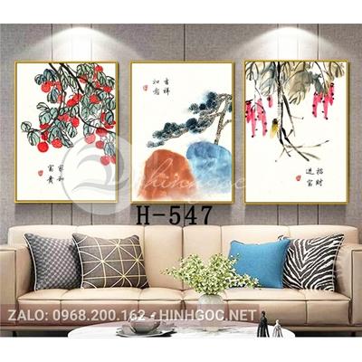 Tranh bộ 3 bức, tranh hoa lá cây và quả-H-547