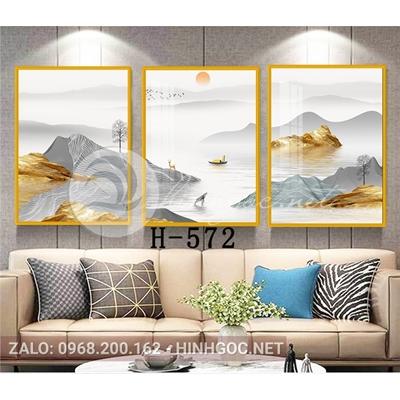 Tranh bộ 3 bức, phong cảnh sơn thủy hươu trên sông-H-572