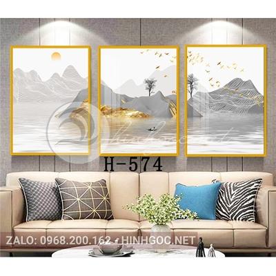 Tranh bộ 3 bức, phong cảnh sơn thủy đàn chim bay trên núi-H-574