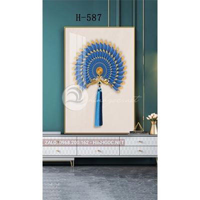 Tranh trang trí họa tiết cánh quạt xanh viền vàng kim-H-587