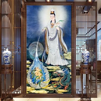 Tranh Phật quan âm và con rồng mẫu 02 - KEN25
