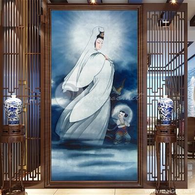 Tranh Phật quan âm cưỡi mây và tiên đồng - KEN54