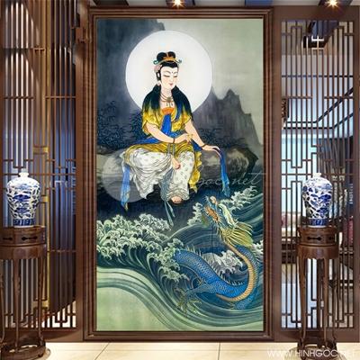 Tranh Phật quan âm ngồi bên vách đá và con rồng - KEN55