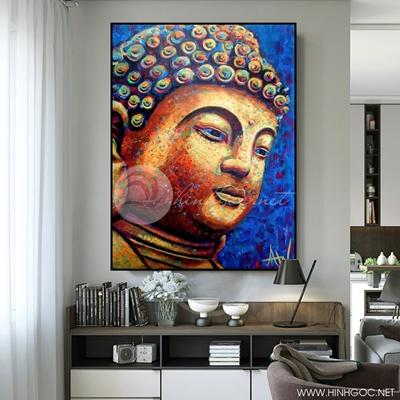 Tranh Phật thích ca mâu ni nền xanh - KEN72