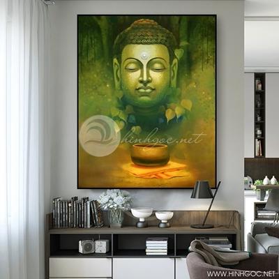 Tranh tượng Phật nền xanh lá - KEN74