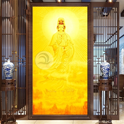 Tranh Quan âm bồ tát nền vàng - KEN93