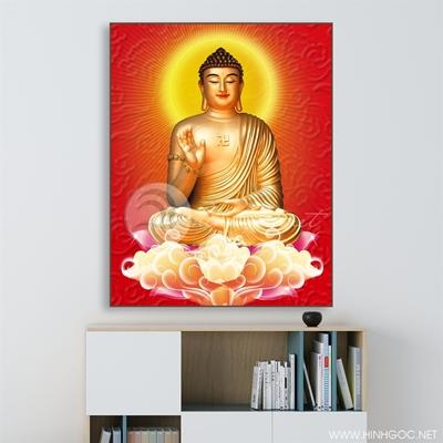 Tranh Phật thích ca tọa đài sen - KEN95
