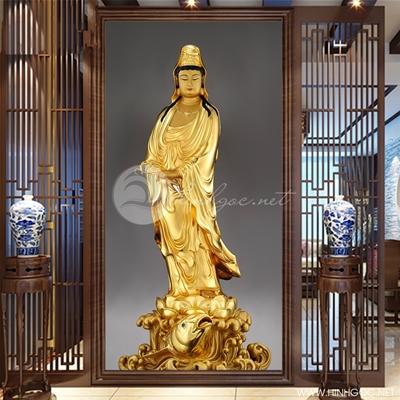 Tranh tượng Phật quan âm vàng - KEN96
