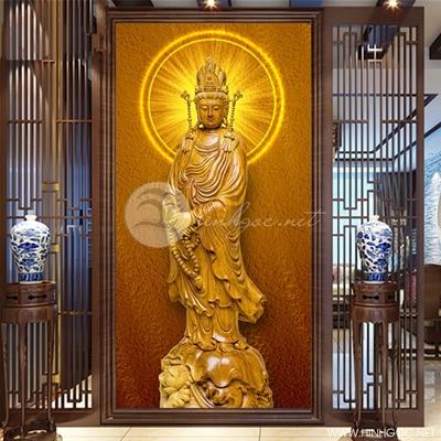 Tranh tượng Phật khắc gỗ - KEN98