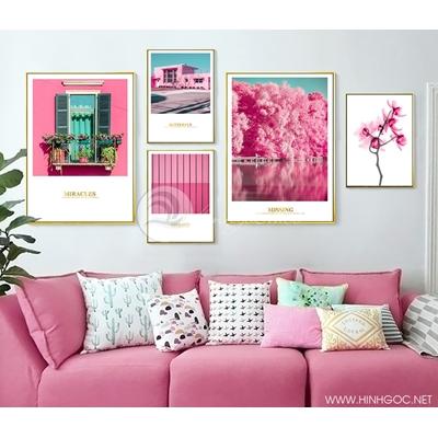 Tranh bộ thành phố màu hồng - LEN25