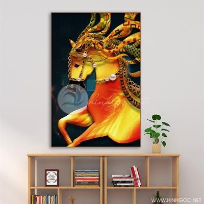 Tranh ngựa vàng - LEN90