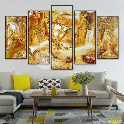 Tranh bộ phong cảnh sơn thủy vàng - LEN91