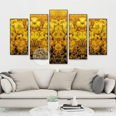 Tranh bộ vườn hoa vàng - LEN92