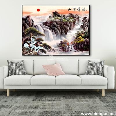 Tranh phong cảnh thác nước và núi-MTS-06