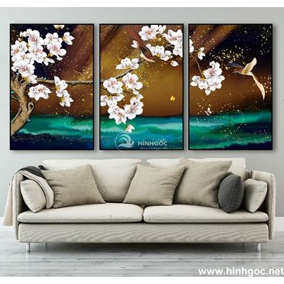 Tranh bộ hoa ly trắng-MTS-09
