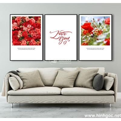 Tranh bộ hoa hồng love -MTS-142