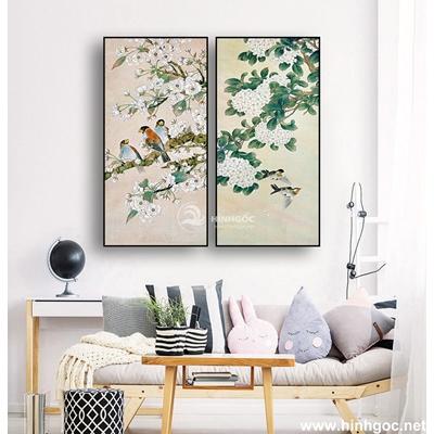 Tranh bộ hoa và chim-MTS-148