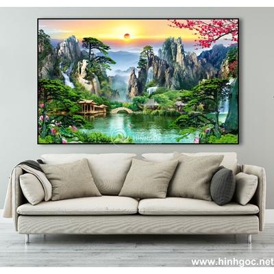 Tranh phong cảnh thiên nhiên hoa đào-MTS-56