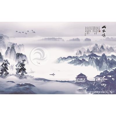 Tranh ngôi nhà và dãy núi trong sương - MTT60