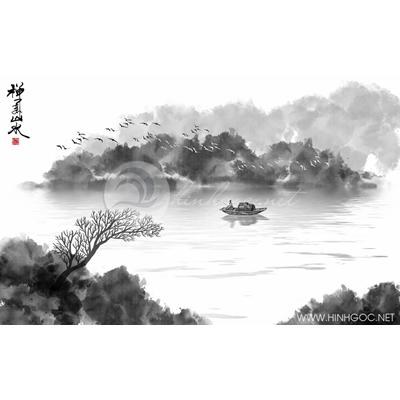 Tranh người câu cá trên sông - MTT67