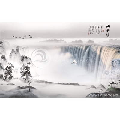 Tranh phong cảnh thác nước và chim hạc - MTT71