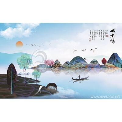 Tranh phong cảnh núi sông nhiều màu sắc - MTT73