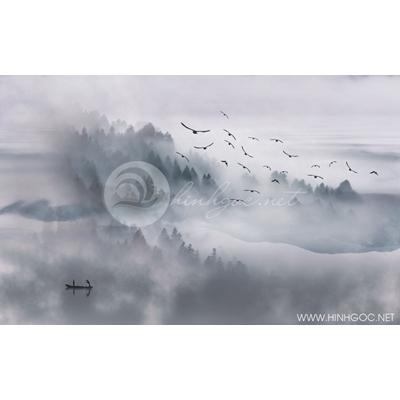 Tranh phong cảnh rừng cây trong sương - MTT75