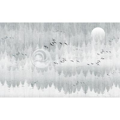 Tranh đàn chim bay qua khu rừng - MTT78