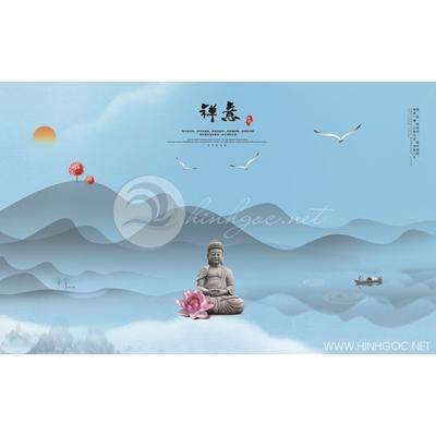 Tranh tượng Phật và hoa sen - MTT79
