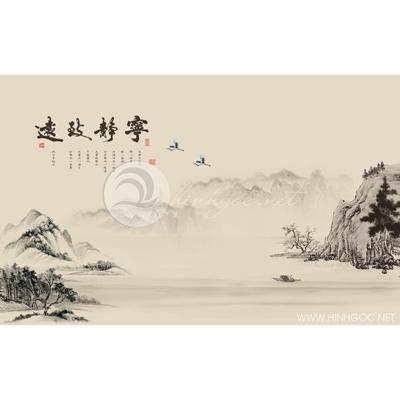 Tranh phong cảnh núi sông và đôi chim hạc - MTT81