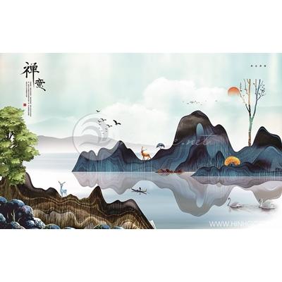 Tranh dãy núi và cây cối nhiều màu - MTT82