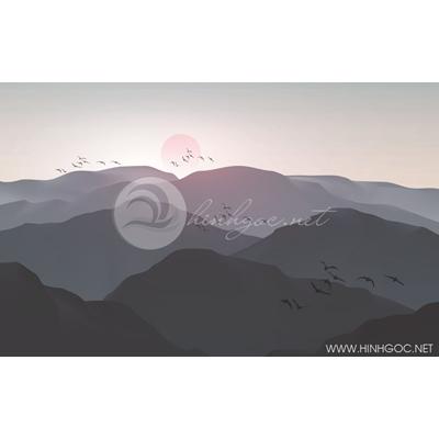 Tranh dãy núi đón bình minh - MTT86