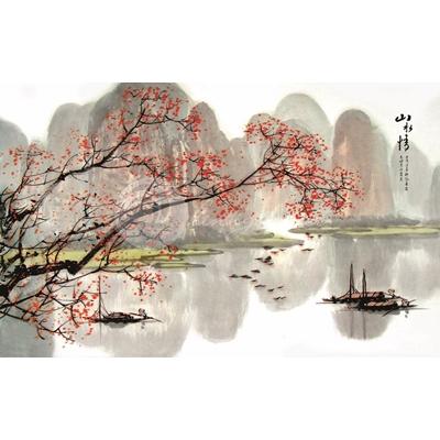 Tranh núi sông và cây hoa đỏ - MTT95