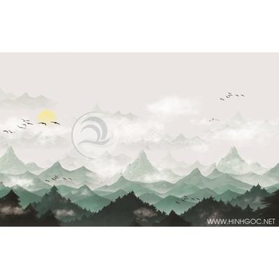Tranh núi rừng xanh trong sương - MTT96