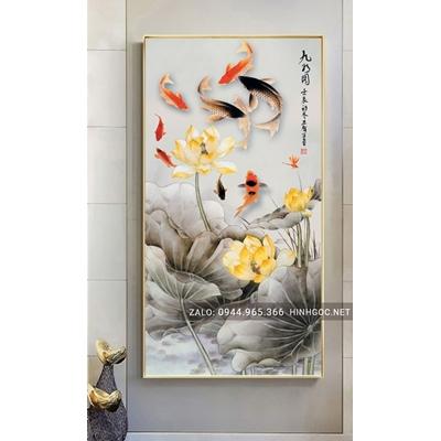 Tranh treo tường, tranh cá chép và hoa sen-NCS107