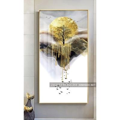 Tranh treo tường, cây tuần lộc vàng và dải vân -NCS40